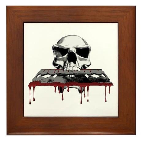 Skull Razorblade Framed Tile