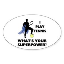 Tennis Superpower Oval Sticker