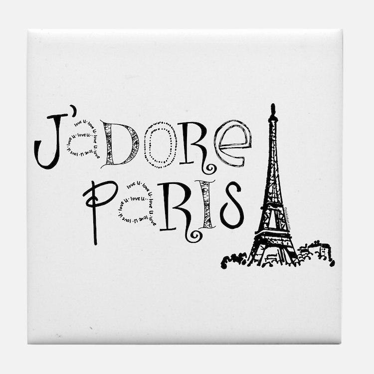 J'adore Paris Tile Coaster