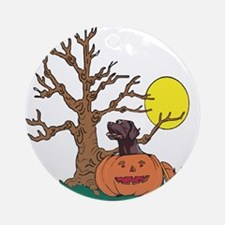 Halloween Pumpkin Lab Ornament (Round)