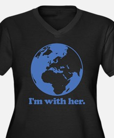 I'm With Her Women's Plus Size V-Neck Dark T-Shirt