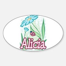 Alicia Ladybug Flower Oval Decal