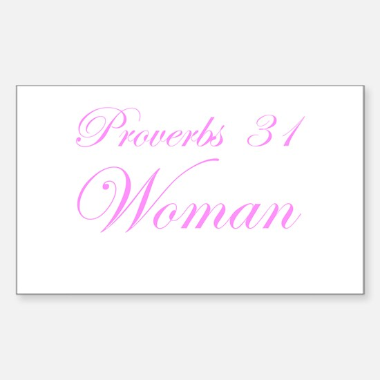 Pink Proverbs 31 Woman Rectangle Decal