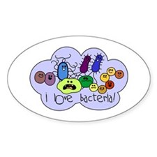 I Love Bacteria Oval Decal