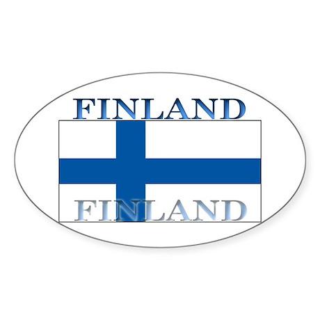 Finland Finish Flag Oval Sticker