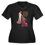 Nine Words Women's Plus Size V-Neck Dark T-Shirt