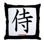 Japanese Samurai Kanji Throw Pillow