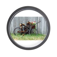 Shabby Chic Vintage Floral Bike Wall Clock