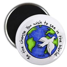 "World Peace Gandhi - Funky St 2.25"" Magnet (1"