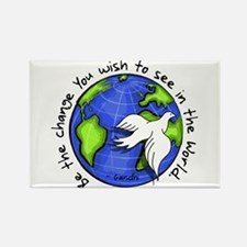 World Peace Gandhi - Funky St Rectangle Magnet (10