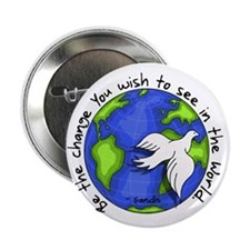 "World Peace Gandhi - 2008 2.25"" Button (10 pa"