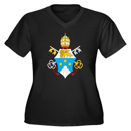 Pope John Paul I Women's Plus Size V-Neck Dark T-S