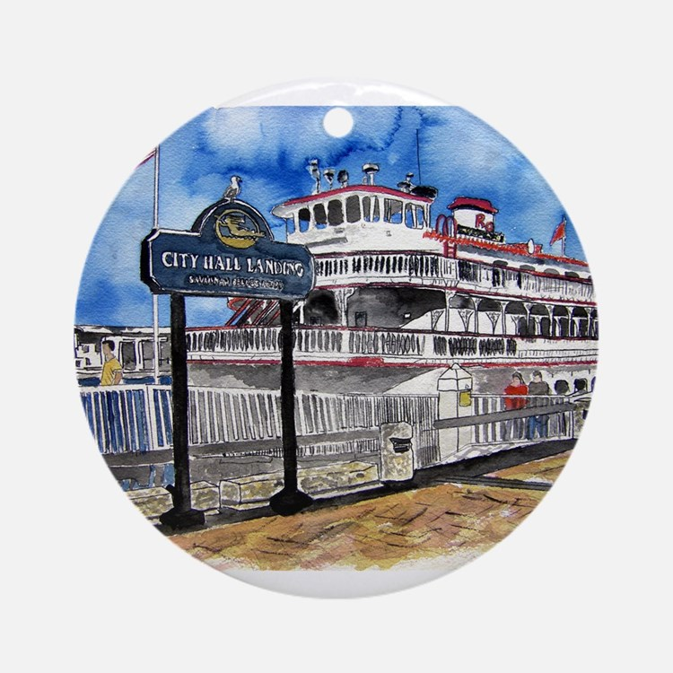 savannah queen river boat Geo Ornament (Round)