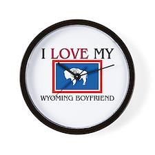 I Love My Wyoming Boyfriend Wall Clock