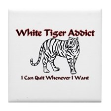 White Tiger Addict Tile Coaster