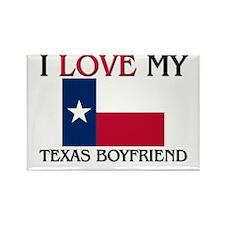 I Love My Texas Boyfriend Rectangle Magnet (10 pac