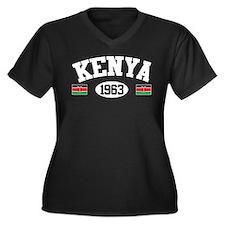 Kenya 1963 Women's Plus Size V-Neck Dark T-Shirt