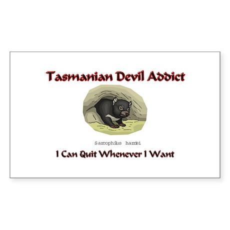 Tasmanian Devil Addict Rectangle Sticker