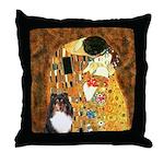 Kiss/Tri Color Sheltie Throw Pillow