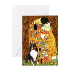 Kiss/Tri Color Sheltie Greeting Card
