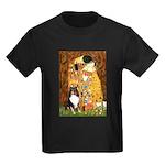 Kiss/Tri Color Sheltie Kids Dark T-Shirt