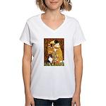 Kiss/Tri Color Sheltie Women's V-Neck T-Shirt