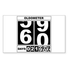 60th Birthday Oldometer Rectangle Decal