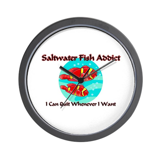 Saltwater fish addict wall clock by animalgift for Fish wall clock
