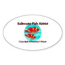 Saltwater Fish Addict Oval Decal