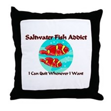 Saltwater Fish Addict Throw Pillow