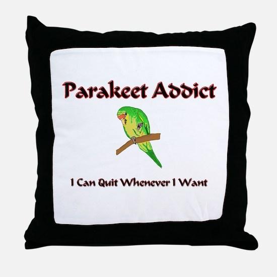 Parakeet Addict Throw Pillow