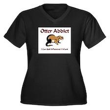 Otter Addict Women's Plus Size V-Neck Dark T-Shirt