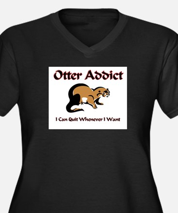 Otter Addict Women's Plus Size V-Neck Dark T-Shirt