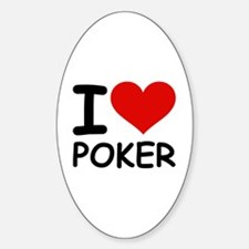 I LOVE POKER Oval Decal
