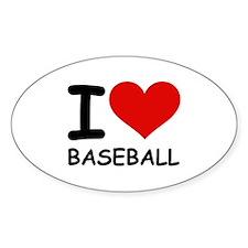 I LOVE BASEBALL Oval Sticker (50 pk)