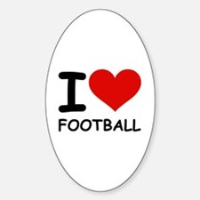 I LOVE FOOTBALL Oval Decal