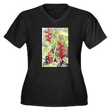 Heliconia Women's Plus Size V-Neck Dark T-Shirt