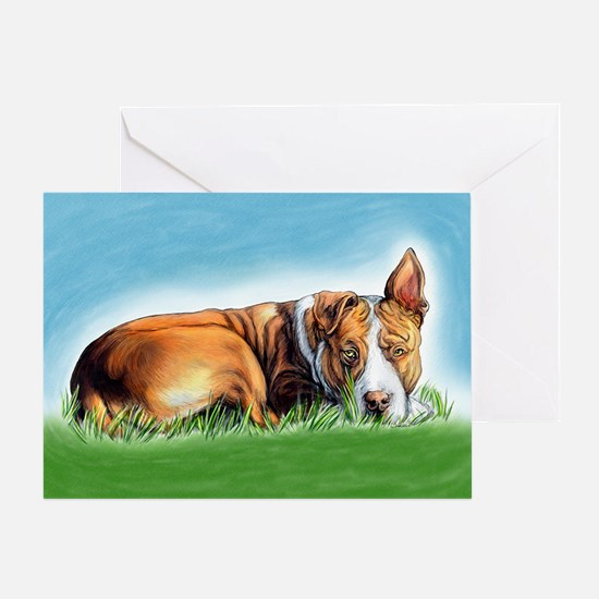 Pit Bull Hears You Greeting Card