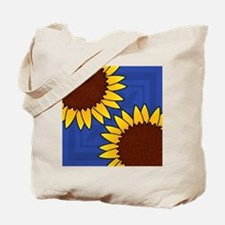 SUNFLOWERS ON BLUE Tote Bag