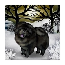 BLACK CHOW CHOW DOG WINTER SUNSET Tile Coaster