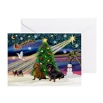XmasMagic/2 Doxies Greeting Card