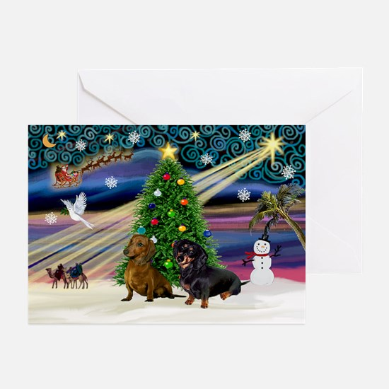 XmasMagic/2 Doxies Greeting Cards (Pk of 20)