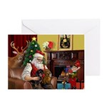 Santa's 2 Doxies (R+B) Greeting Cards (Pk of 10)
