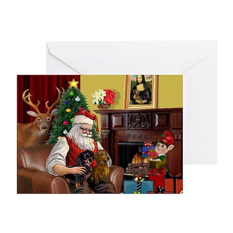Santa's 2 Doxies (R+B) Greeting Cards (Pk of 20)