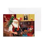 Santa's 2 Doxies (blk) Greeting Cards (Pk of 10)