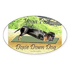 Yoga Down Dog Dachshund Oval Decal