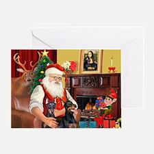 Santa's 2 Dobermans Greeting Card