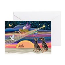 XmasStar/2 Dobies Greeting Card