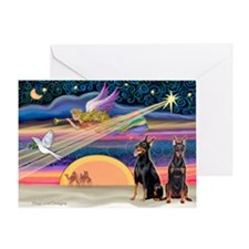 XmasStar/2 Dobies (P2) Greeting Card