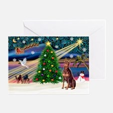 Xmas Magic/Red Dobie Greeting Card